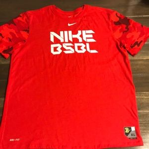 Men's Nike Red Baseball Dri-Fit T-Shirt